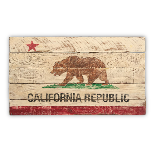 California State Vintage Wooden Flag